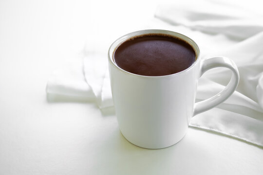 Chocolate milk cup, Flat lay Hot Coco on white background with copy space, Healthy drink for breakfast or relaxing time,World chocolate day.