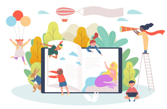 Digital book concept. Children flip through the bookshelves of huge digital devices and characters from fairy tales are popping out.