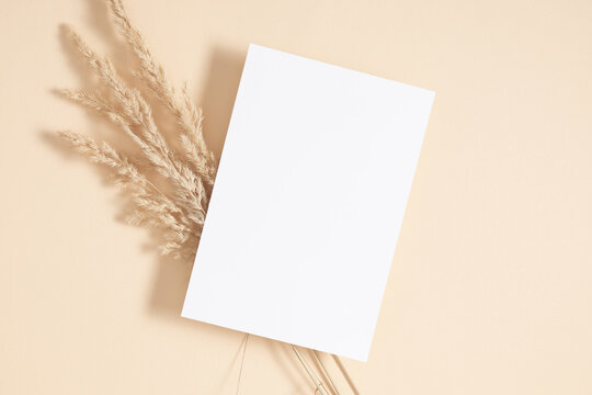 White paper empty blank, dried grass decoration on beige background. Invitation card mockup on beige table. Flat lay, top view, copy space, mockup