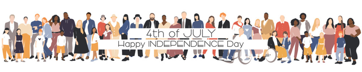 Fototapeta Happy Independence Day card. People of different ethnicities stand side by side together. Flat vector illustration. obraz