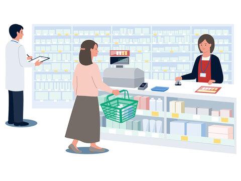 ドラッグストアで買い物をする女性と対応する女性店員と棚をチェックする薬剤師の男性のベクターイラスト