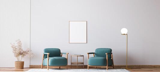 Fototapeta Scandinavian bright living room design, blue armchairs with natural wooden furniture, 3d render  obraz