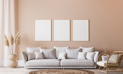Fototapeta Bright Scandinavian living room design, frame mockup in minimal interior background, 3d render  obraz