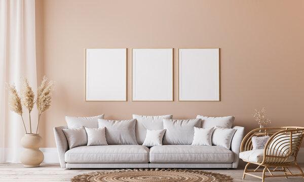 Bright Scandinavian living room design, frame mockup in minimal interior background, 3d render