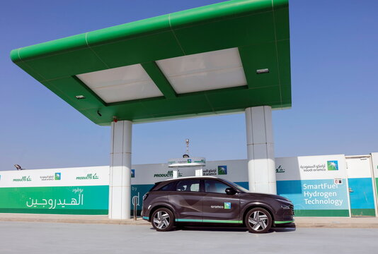 A Hydrogen powered car refuels at Hydrogen refuelling station during Saudi Aramco's media trip to demonstrate Hydrogen automotive technology at Techno Valley Science Park in Dhahran