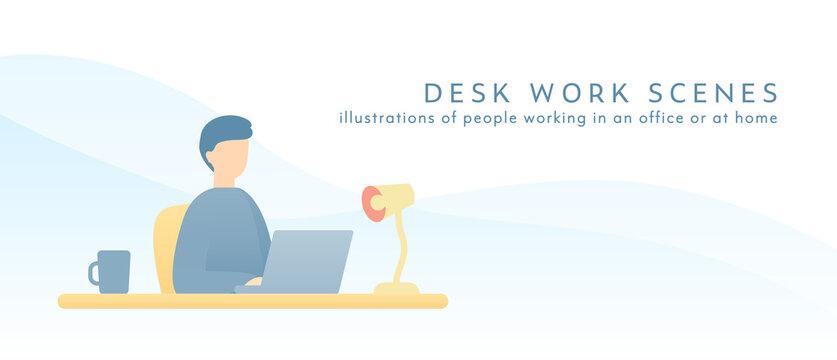 デスクワーク中の男性のイラスト 仕事 デスク 人物 パソコン ビジネス 働く シンプル 座る
