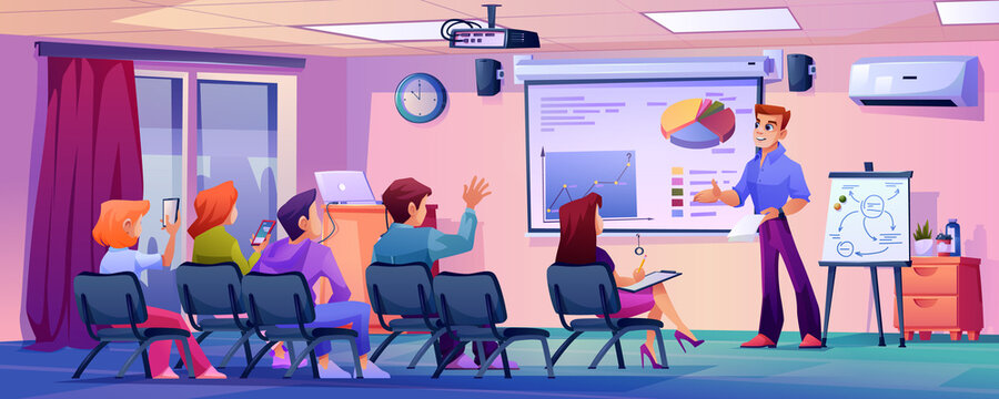Students listening to professor or teacher in modern classroom. Business coach or leader in conference hall. Office or university interior. Seminar or presentation. Flat cartoon character vector