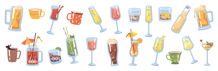 Fototapeta Glasses and cups with drinks and beverages, isolated coffee and tea. Champagne and sparkling wine, beer and pale ale, cocktail and cognac, brandy and whiskey rum with lime. Flat cartoon vector obraz