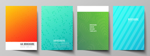 Obraz The vector layout of A4 format modern cover mockups design templates for brochure, magazine, flyer, booklet, annual report. Abstract geometric pattern with colorful gradient business background. - fototapety do salonu