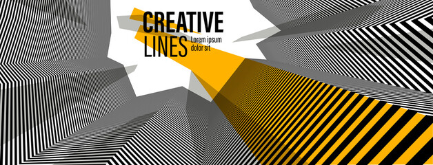 Obraz Abstract vector 3D lines with yellow elements background, black and white linear perspective dimensional optical pattern. - fototapety do salonu