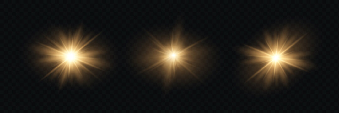 Yellow glowing light explodes on a transparent background. Sparkling magical dust particles. Bright Star.