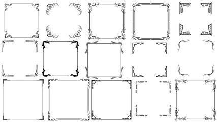 Fototapeta Set Black Simple Line Frame Collection Doodle Square Floral Frame Elements Vector Design Style Sketch Isolated Illustration For Banner obraz