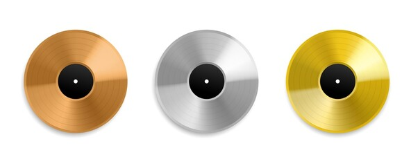Fototapeta Realistic vinyl record. Metal golden and platinum top charts audio discs, music awards albums, silver and rose gold layouts mockup. Songs and singers prize. Vector isolated set obraz