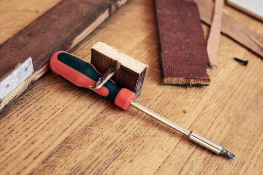 Handyman's miscellaneous tools for fixing furniture and various things.