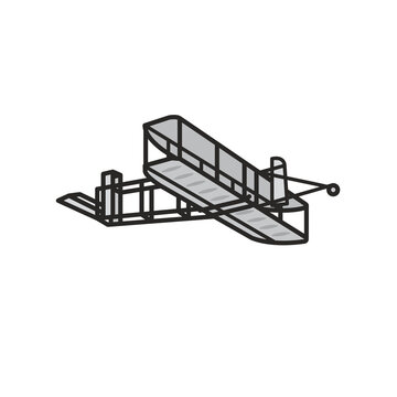 Wright Flyer isolated vector illustration for Brothers Wright Day on December 17