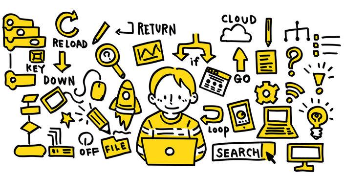 IT アイコン ノートパソコン プログラミング 少年 手描き イラスト