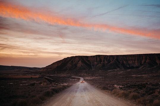 Fast car driving in desert
