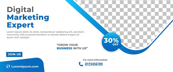 Business marketing banner template design. Modern horizontal banner with place for the photo.