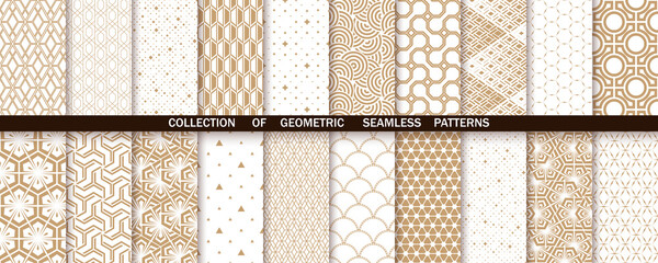 Obraz Geometric set of seamless gold and white patterns. Simple vector graphics - fototapety do salonu