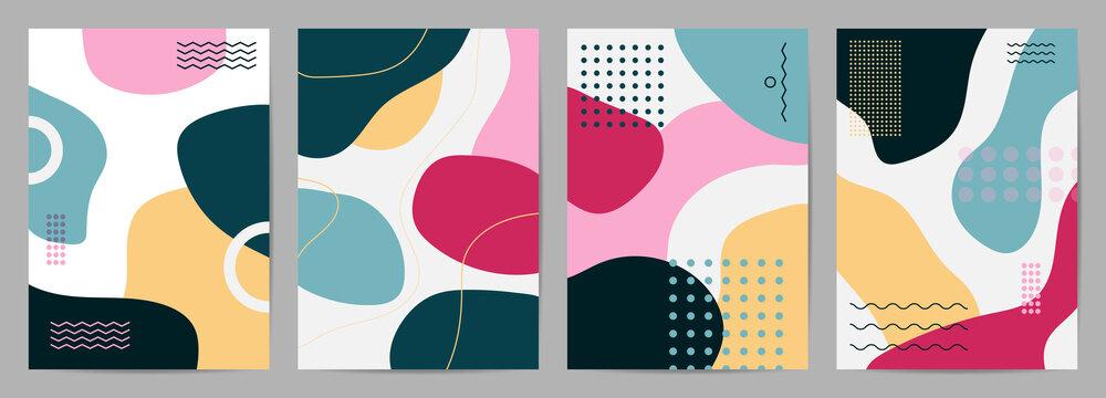 Memphis style cover vector. Modern Poster Art. Minimal geometric background pattern  design for wall framed prints, canvas poster, artwork as postcard or brochure.Vector illustration.