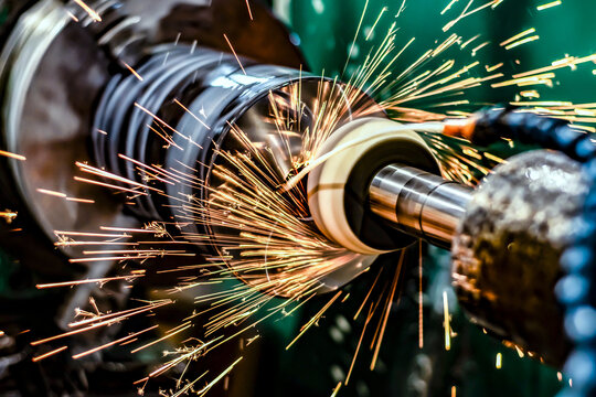 High-precision metal processing on a CNC cylindrical grinding machine.