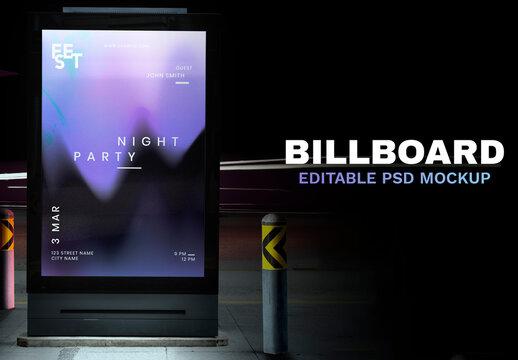 Digital Ad Sign Mockup Screen at the Bus Stop