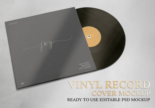 Editable Vinyl Record Cover Mockup