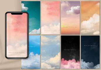 Fototapeta Sky and Clouds Mobile Wallpaper Layout obraz