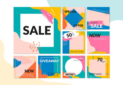Sale Layout Banner Set with Memphis Style