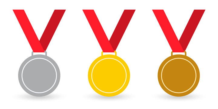 Medal set. Gold, silver and bronze medals with ribbon. Sport awards, winner and champion prize concept. Vector illustration.