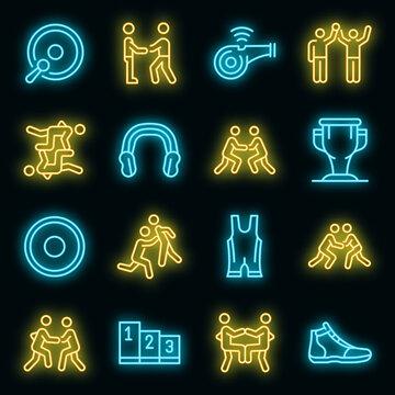 Greco-Roman wrestling icons set. Outline set of Greco-Roman wrestling vector icons neon color on black