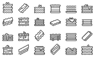 Fototapeta Lasagna icons set outline vector. Cannelloni italy cuisine. Lasagna dish culinary obraz