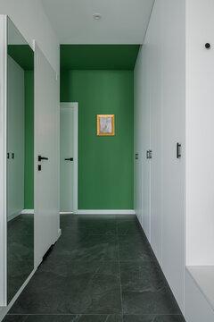 Modern white and green corridor