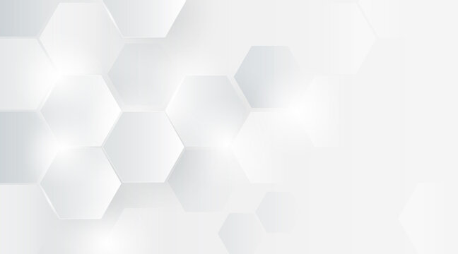 Abstract hexagon overlapping grey and white design background. Geometric shape technology concept. Minimal and modern design. Space for your text. Suit for cover, poster, brochure. Vector illustration