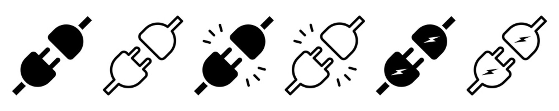 Set of electric plug icons. Connection, socket with a plug, icons. Included or unplugged electric plug with socket. Vector illustration.