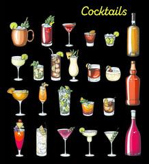 Fototapeta Alcoholic cocktails hand drawn vector illustration. Colorful set. Cognac, brandy, vodka, tequila, whiskey, champagne, wine, margarita cocktails. Bottle and glass. obraz