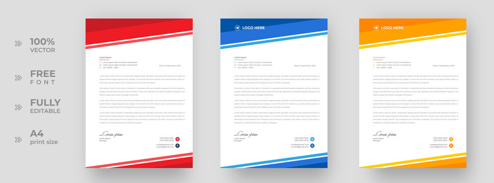 corporate modern letterhead design template with yellow, blue and red color. creative modern letter head design template for your project. letterhead, letter head, simple letterhead design.