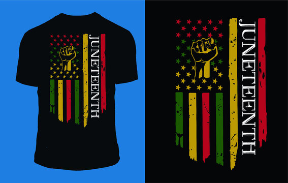 Juneteenth Flag With Fists T-Shirt design vector