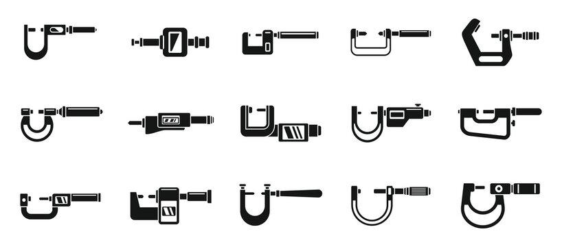 Engineering micrometer icons set simple vector. Industrial gauge