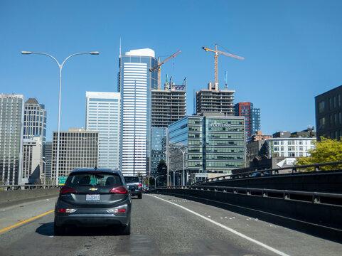 Seattle, WA USA - circa April 2021: View of interstate 5 leading toward downtown Seattle.