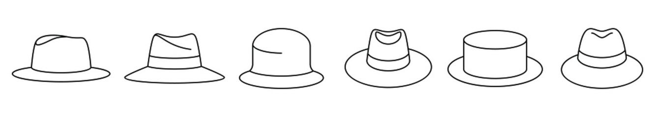 Obraz Classic panama hat icon. Set of vintage panama hat icons. Vector illustration. Panama hat vector icons. Black linear hat icons - fototapety do salonu