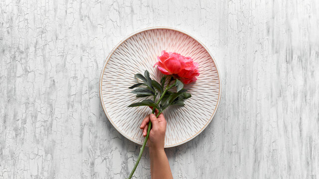 Hand hold peony flower on shabby chic white background, flat lay on cracked white washed wood and decorative round tray. Simple, minimal greeting design for poster, banner, card.