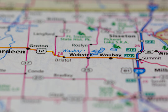 26-28-2021 Portsmouth, Hampshire, UK, Webster South Dakota USA shown on a Geography map or Road map