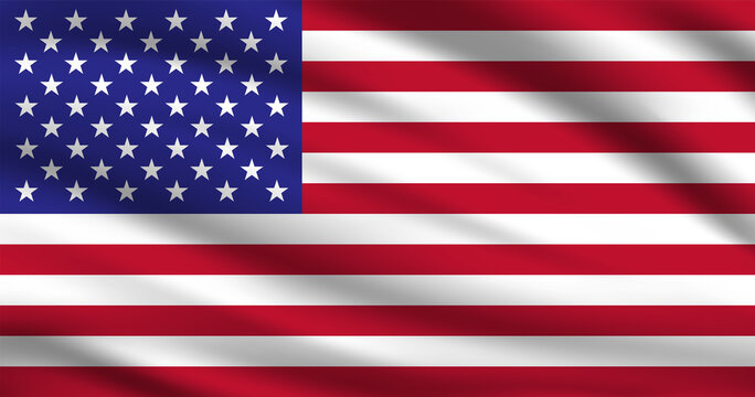 Waving American Flag Vector. Flag of America with Realistic Waving Fabric Texture Effect.
