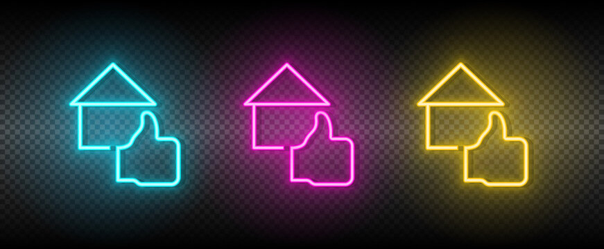 Real estate vector feedback, house, property. Illustration neon blue, yellow, red icon set.