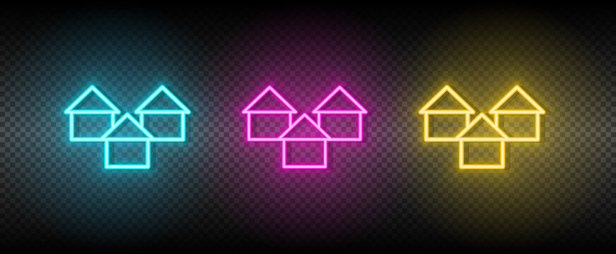 Real estate vector apartment, buildings. Illustration neon blue, yellow, red icon set.