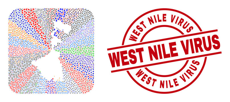 Vector mosaic West Bengal State map of different icons and West Nile Virus seal. Mosaic West Bengal State map created as stencil from rounded square. Red round badge with West Nile Virus word.
