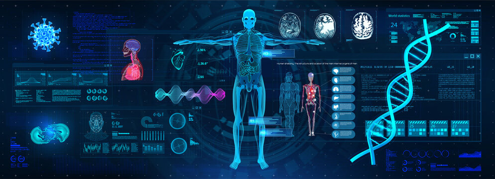 Healthcare examination with HUD interface. Full scan and examination of the human body and organs. DNA indications, cardiogram, body X-ray, brain, heart. Medical HUD. 3D human body research. Vector