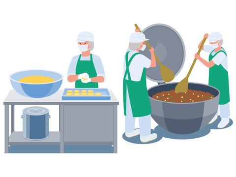 給食センターで給食づくりをする調理スタッフのベクターイラスト
