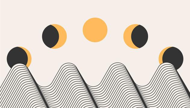 Vector modern moon minimal art background. Moon cycle minimalist design boho abstract contemporary